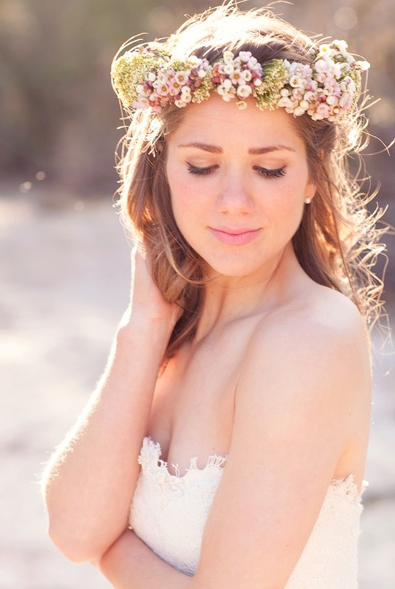 Bohemian-Bride-with-Floral-Crown-Circlet