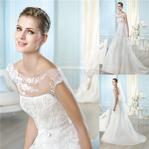 2015-New-Arrival-Vestido-De-Noiva-Scoop-Neck-Short-Sleeve-Long-Mermaid-Wedding-Dresses-Bride-Dress