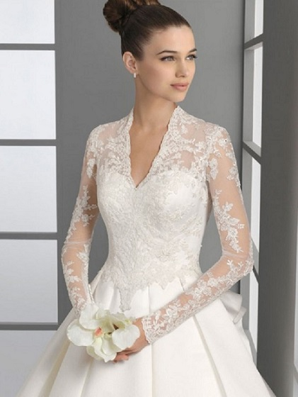 a-line-v-neck-lace-long-sleeves-wedding-dress-with-updo-hairstyles-e1421596410385